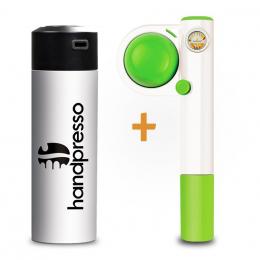 Set Handpresso Pump Pop Grün und Thermosflasche Weiß