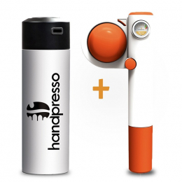 Pack Handpresso Pump Pop orange and white thermo-flask